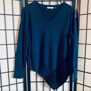 89th Madison blue black asymmetrical sweater L